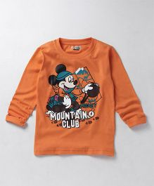 Eteenz Full Sleeves T-Shirt Mickey Mouse Print - Orange