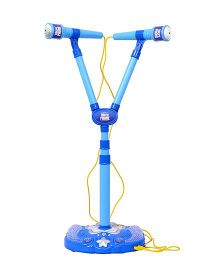 Planet of Toys Twin Microphone With Adjustable Stand - Blue