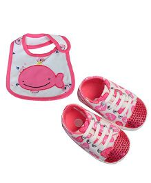 Babies Bloom Sandals & Bib Set Heart Print & Whale Patch - Pink
