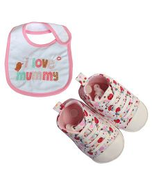 Babies Bloom Sandals & Bib Set Strawberry Print &Text Embroidery - Light Pink