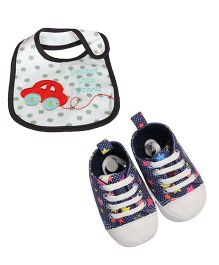 Babies Bloom Sandals & Bib Set Star Print & Car Patch - Navy Blue