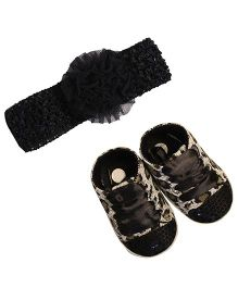 Babies Bloom Shoes & Headband Set Leopard Print - Black White