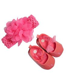 Babies Bloom Sandals & Headband Set Flower And Bow Design - Pink