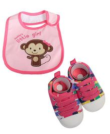 Babies Bloom Sandals & Bib Set Stripes & Monkey Patch - Pink
