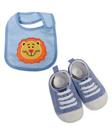 Babies Bloom Sandals & Bib Set Lion Patch - Light Blue