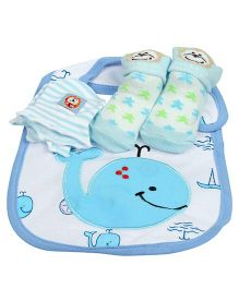 Babies Bloom Gift Set Whale Design Set of 3 - Blue White