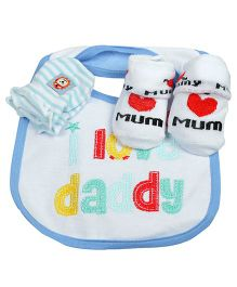 Babies Bloom Gift Set I Love Daddy Design Set of 3 - Blue White
