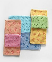 Doreme Hand & Face Towels Pack Of 6 - Blue & Multi Color