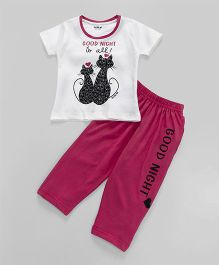 Doreme Short Sleeves Night Suit Kitty Print - White & Dark Pink