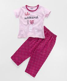 Doreme Short Sleeves Night Suit Text Print - Pink