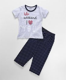 Doreme Short Sleeves Night Suit Text Print - Grey & Navy