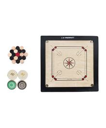 JD Sports Wooden Carrom Board With Striker & Coins - Black Beige