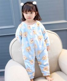 Pre Order - Awabox Warm Fleece Teddy Print Romper - Blue