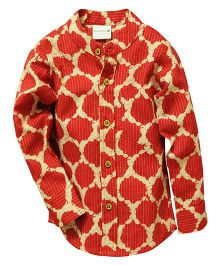 Snowflakes Full Sleeves Printed Shirt - Red