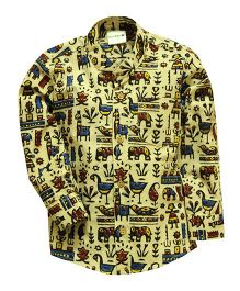 Snowflakes Full Sleeves Shirt Kalamkari Print - Yellow