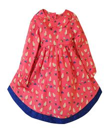 Snowflakes Girls Dress With Bird Print - Pink