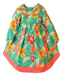 Snowflakes Full Sleeves Frock Floral Print - Multicolor