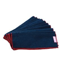 Mumma's Touch Organic Face Towel Set of 10 - Navy Blue Red