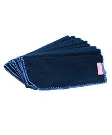 Mumma's Touch Organic Bamboo Face Towel Small Set of 10 - Navy Blue With Sky Blue Border