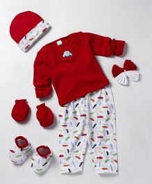 Mee Mee Clothing Gift Set Car Print & Embroidery Pack Of 7 - Red White