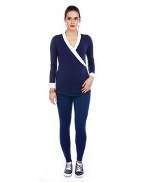 The Mommy Collective Full Sleeves Maternity Top - Navy Blue