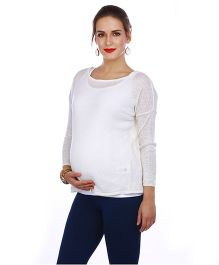 The Mommy Collective Full Sleeves Maternity Top - White