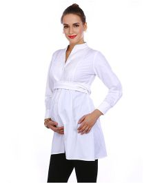 The Mommy Collective Full Sleeves Maternity Shirt - White