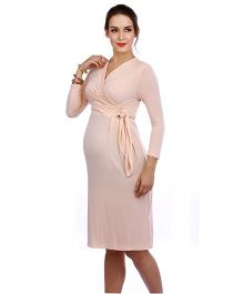 The Mommy Collective Three Fourth Sleeves Maternity Dress - Light Peach