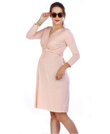 The Mommy Collective Three Fourth Sleeves Top Knot Maternity Dress - Light Peach