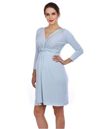 The Mommy Collective Three Fourth Sleeves Top Knot Maternity Dress - Sky Blue