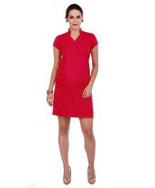 The Mommy Collective Short Sleeves Maternity Dress - Coral Red