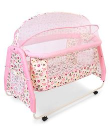1st Step Metal Cradle With Mosquito Net Floral Print - Pink & White