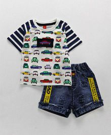 Wow Clothes Half Sleeves T-Shirt With Shorts Car Print - White Navy