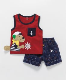 Wow Clothes Sleeveless T-Shirt With Shorts Puppy Patch - Red & Blue