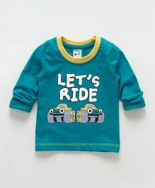 Tango Full Sleeves T-Shirt Let's Ride Print - Teal Blue