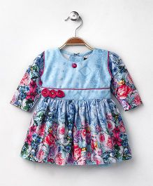 Enfance Core Flower Applique Casual Dress - Blue