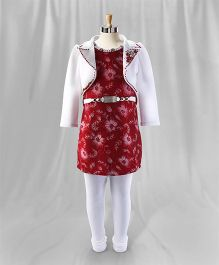 Eiora Party Wear Dress With Shrug & Leggings - Red & White