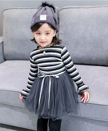 Wonderland Striped Sweater Bodice Tutu Dress - Black