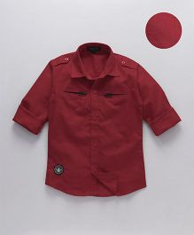 Robo Fry Full Sleeves Solid Color Shirt - Red