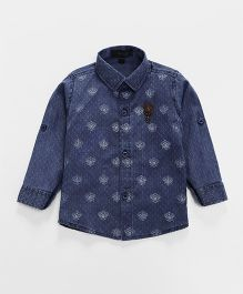 Robo Fry Full Sleeves Printed Denim Shirt - Blue