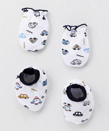 Babyhug Mittens And Booties Vehicle Print - White Navy Blue