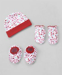 Babyhug Cap Mittens And Booties Set Floral Print - Red & White