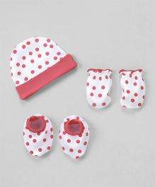 Babyhug Cap Mittens And Booties Set Polka Dots Print - Pink & White