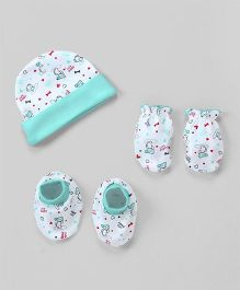 Babyhug Cap Mittens And Booties Set Puppy Print - Sea Green & White
