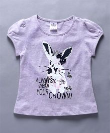 Smarty Half Sleeves Tee Bunny Print - Purple