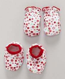 Babyhug Mittens And Booties Set Floral Print - White & Red