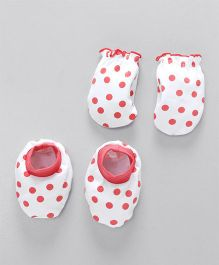 Babyhug Mittens And Booties Set Polka Dots Print - White & Coral