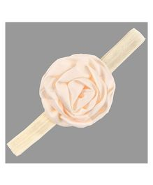 Angel Closet Rosette Headband With Satin Rose - Beige