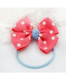 Angel Closet Bow Hair Tie With Polka Dots - Pink Blue