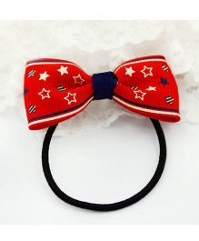 Angel Closet Bow Hair Tie With Star Design - Red